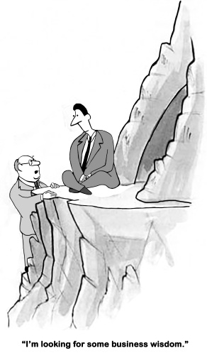 Business cartoon of a wise businessman meditating on a cliff, his coworker is looking for 'some business wisdom'.